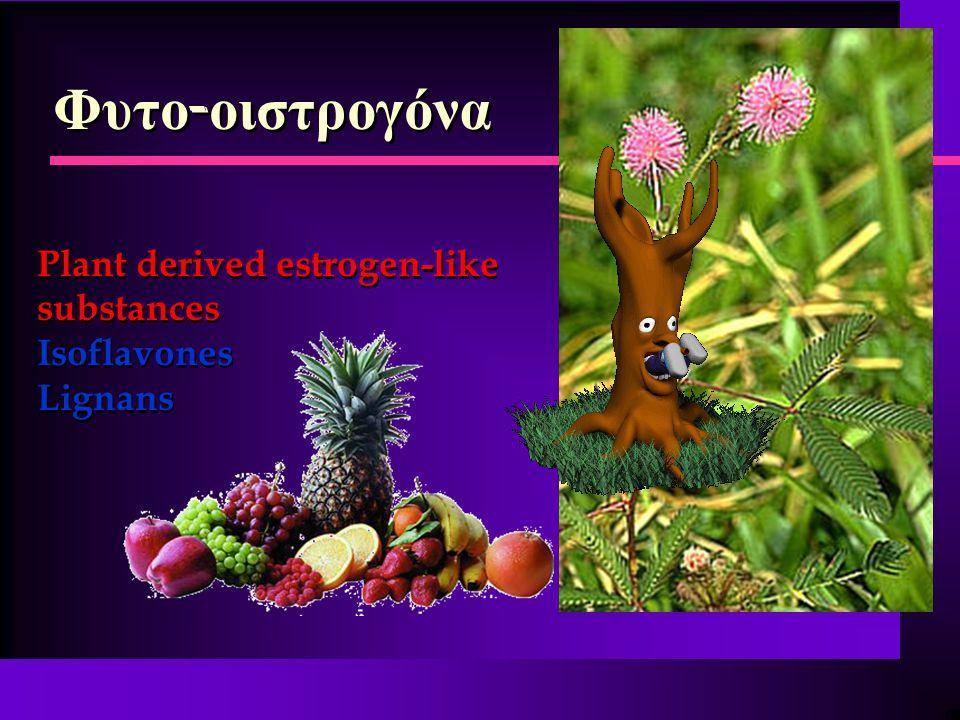 Φυτο - οιστρογόνα Plant derived estrogen-like substances Isoflavones Lignans Plant derived estrogen-like substances Isoflavones Lignans