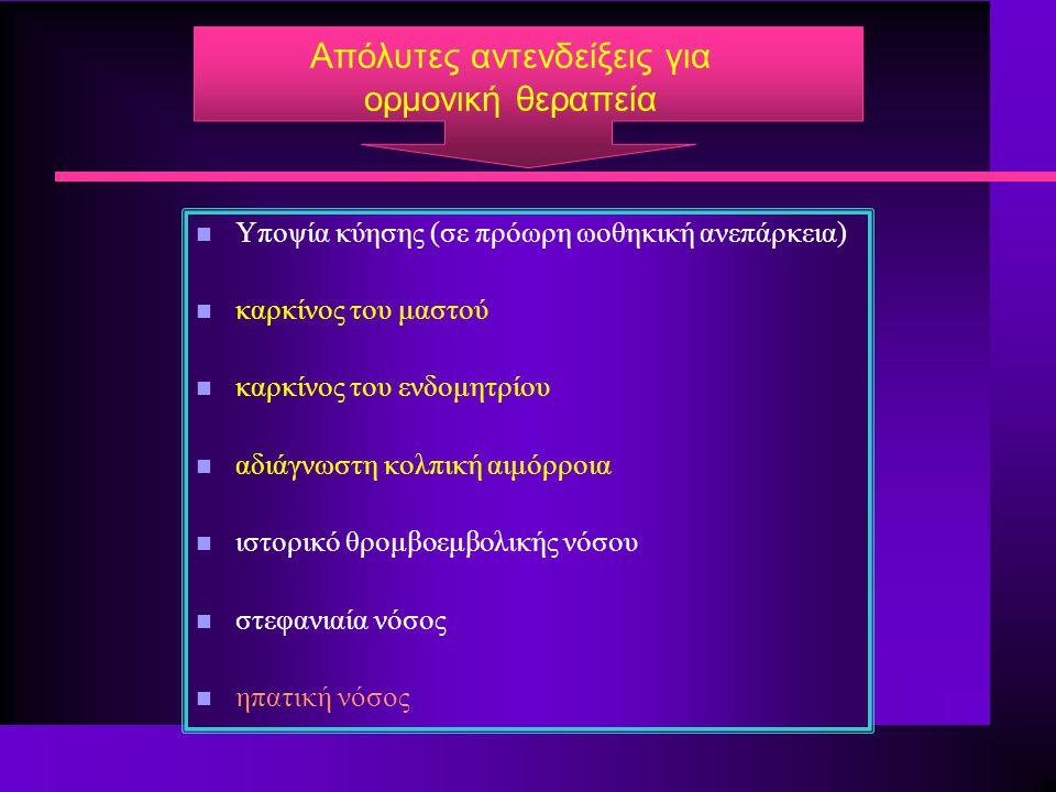 Aπόλυτες αντενδείξεις για ορμονική θεραπεία n Υποψία κύησης (σε πρόωρη ωοθηκική ανεπάρκεια) n καρκίνος του μαστού n καρκίνος του ενδομητρίου n αδιάγνω