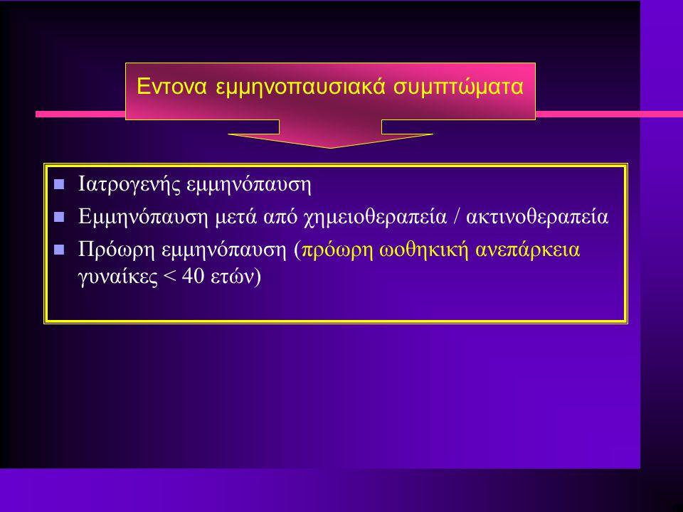 Εντονα εμμηνοπαυσιακά συμπτώματα n Ιατρογενής εμμηνόπαυση n Εμμηνόπαυση μετά από χημειοθεραπεία / ακτινοθεραπεία n Πρόωρη εμμηνόπαυση (πρόωρη ωοθηκική ανεπάρκεια γυναίκες < 40 ετών)
