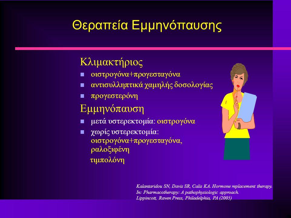 Κλιμακτήριος n οιστρογόνα+προγεσταγόνα n αντισυλληπτικά χαμηλής δοσολογίας n προγεστερόνη Εμμηνόπαυση n μετά υστερεκτομία: οιστρογόνα n χωρίς υστερεκτ