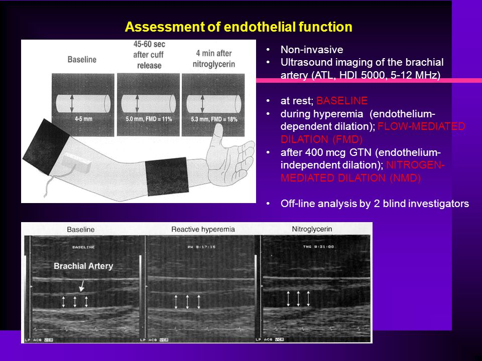 Non-invasive Ultrasound imaging of the brachial artery (ATL, HDI 5000, 5-12 MHz) at rest; BASELINE during hyperemia (endothelium- dependent dilation);