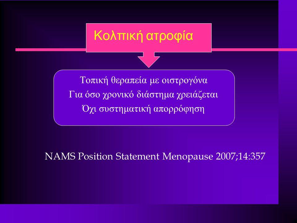 Κολπική ατροφία Τοπική θεραπεία με οιστρογόνα Για όσο χρονικό διάστημα χρειάζεται Όχι συστηματική απορρόφηση ΝΑΜS Position Statement Menopause 2007;14:357