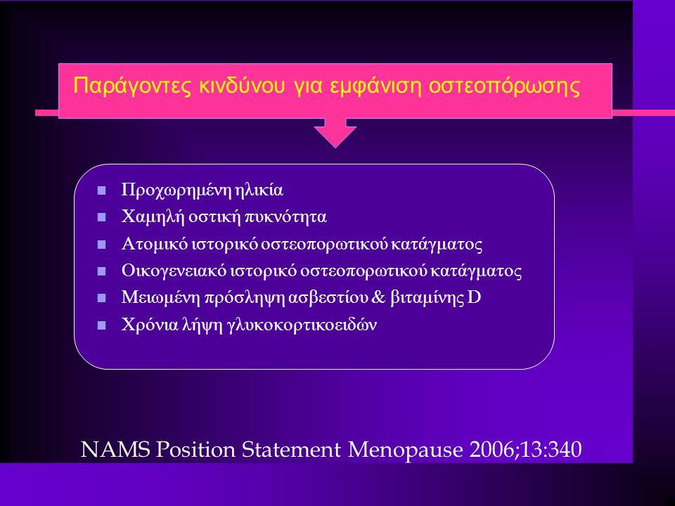 Παράγοντες κινδύνου για εμφάνιση οστεοπόρωσης n Προχωρημένη ηλικία n Χαμηλή οστική πυκνότητα n Ατομικό ιστορικό oστεοπορωτικού κατάγματος n Οικογενεια