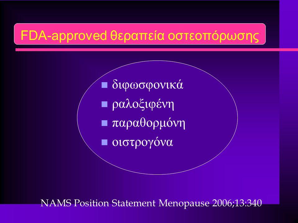 FDA-approved θεραπεία οστεοπόρωσης n διφωσφονικά n ραλοξιφένη n παραθορμόνη n οιστρογόνα NAMS Position Statement Menopause 2006;13:340