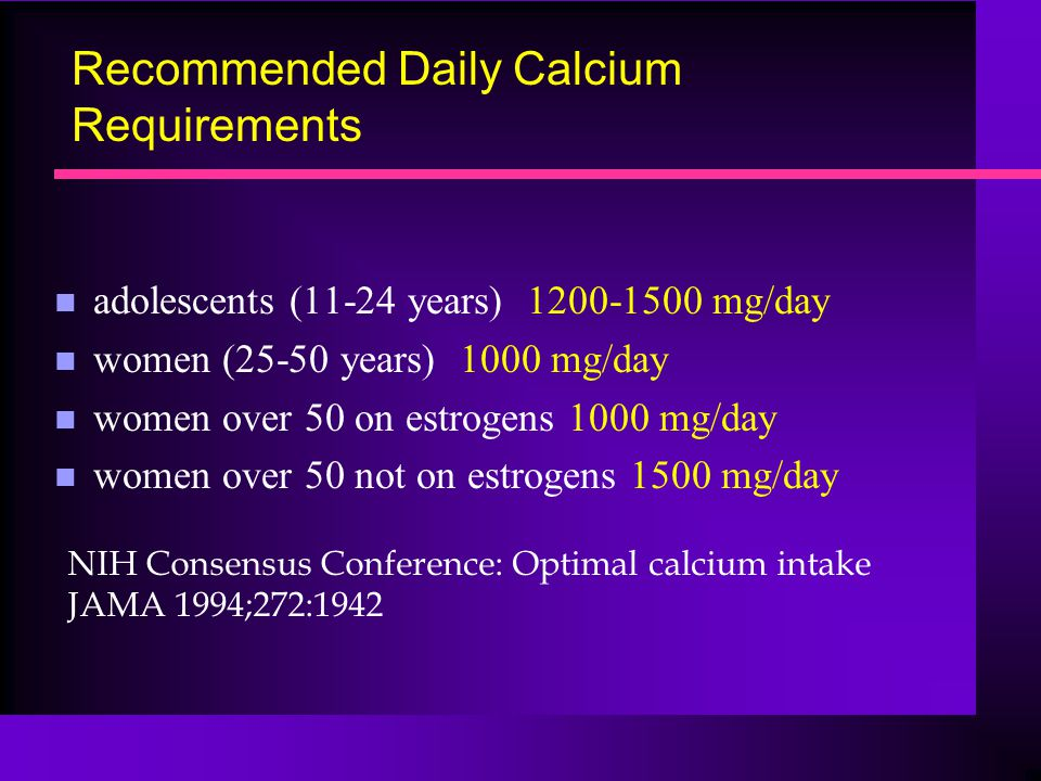 Recommended Daily Calcium Requirements n adolescents (11-24 years) 1200-1500 mg/day n women (25-50 years) 1000 mg/day n women over 50 on estrogens 100