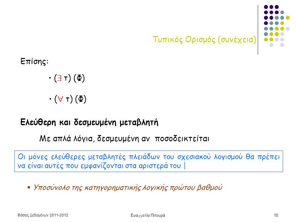 Βάσεις Δεδομένων 2011-2012 Ευαγγελία Πιτουρά11 Σχεσιακός Λογισμός Πλειάδων Υπενθύμιση:  DeMorgan  Ιmplication:  Διπλή άρνηση: every human is mortal: no human is immortal P1 and P2  not (not(P1) or not(P2)) P1  P2  not(P1) or P2 (  t) P(t)  not (  t) (not P(t))