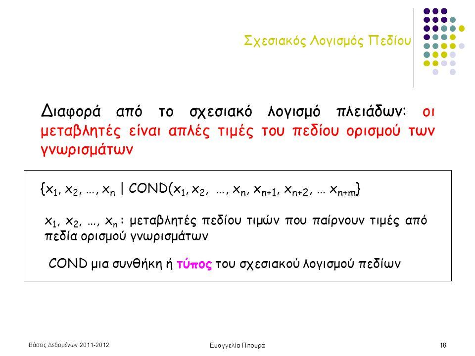 Βάσεις Δεδομένων 2011-2012 Ευαγγελία Πιτουρά19 Σχεσιακός Λογισμός Πεδίων Άτομα του σχεσιακού λογισμού πεδίου R(x 1, x 2, …, x n ): R όνομα σχέσης n-οστού βαθμού x i opt x j x i opt c ή c opt x i Για συντομία {x 1 x 2 …x n | R(x 1, x 2, …, x n ) αντί του {x 1, x 2, …, x n | R(x 1, x 2, …, x n ) Κάθε τύπος κατασκευάζεται από ένα ή περισσότερα άτομα