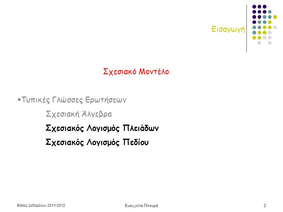 Βάσεις Δεδομένων 2011-2012 Ευαγγελία Πιτουρά2 Εισαγωγή Σχεσιακό Μοντέλο  Τυπικές Γλώσσες Ερωτήσεων Σχεσιακή Άλγεβρα Σχεσιακός Λογισμός Πλειάδων Σχεσι