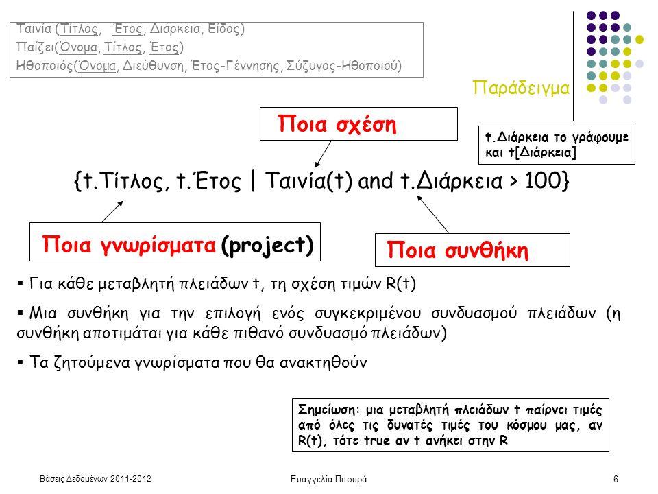 Βάσεις Δεδομένων 2011-2012 Ευαγγελία Πιτουρά7 Τυπικός Ορισμός {t 1.A 1, t 2.A 2, …, t n.A n | COND(t 1, t 2, …, t n, t n+1, t n+2, … t n+m )} t 1, t 2, …, t n+m : μεταβλητές πλειάδων Α 1, Α 2, …, Α n : γνωρίσματα COND μια συνθήκη ή τύπος του σχεσιακού λογισμού πλειάδων