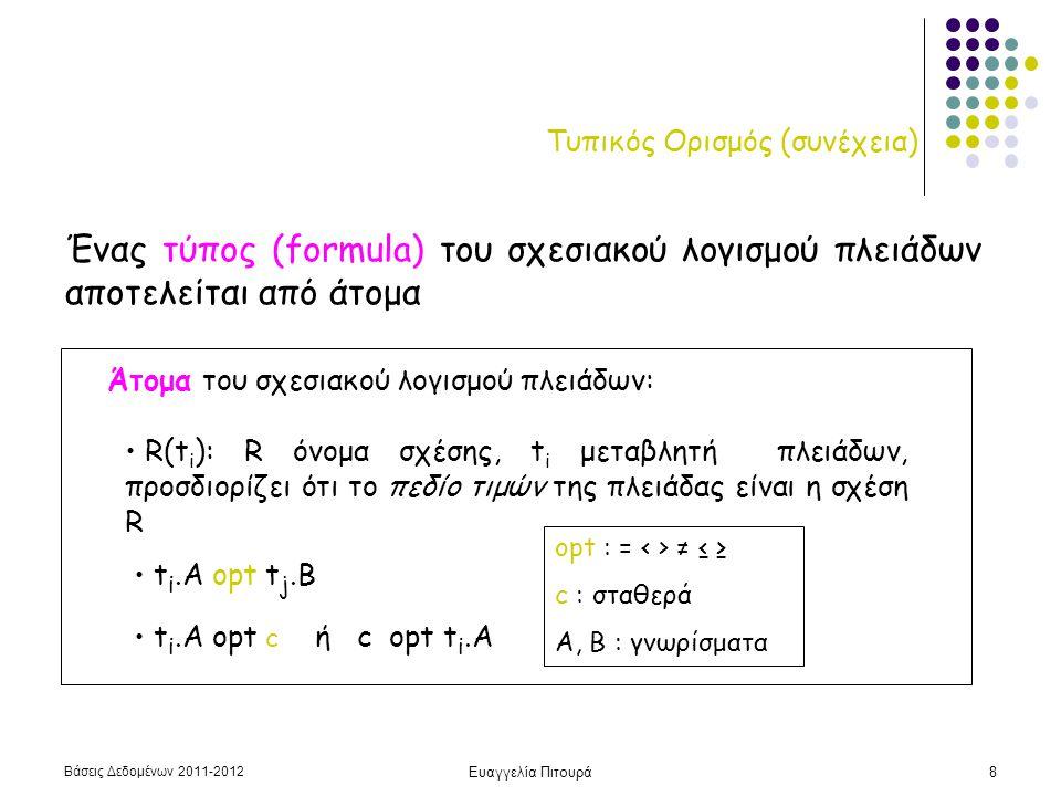Βάσεις Δεδομένων 2011-2012 Ευαγγελία Πιτουρά9 Τυπικός Ορισμός (συνέχεια) Κάθε άτομο αποτιμάται σε true ή false (τιμή αληθείας) του ατόμου Κάθε τύπος κατασκευάζεται από ένα ή περισσότερα άτομα Κάθε άτομο είναι ένας τύπος (F1 or F2) (F1 and F2) not(F1)