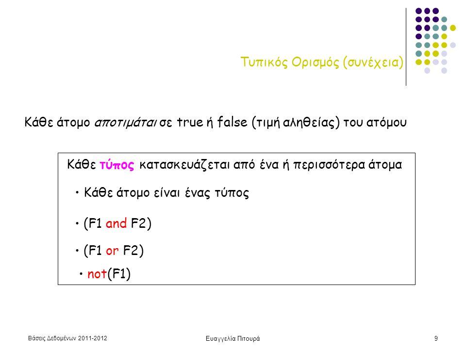 Βάσεις Δεδομένων 2011-2012 Ευαγγελία Πιτουρά10 Τυπικός Ορισμός (συνέχεια) Επίσης: (  τ) (Φ) (  τ) (Φ) Ελεύθερη και δεσμευμένη μεταβλητή Με απλά λόγια, δεσμευμένη αν ποσοδεικτείται Οι μόνες ελεύθερες μεταβλητές πλειάδων του σχεσιακού λογισμού θα πρέπει να είναι αυτές που εμφανίζονται στα αριστερά του |  Υποσύνολο της κατηγορηματικής λογικής πρώτου βαθμού