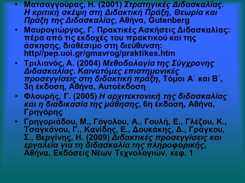 Ματσαγγούρας, Η. (2001) Στρατηγικές Διδασκαλίας. Η κριτική σκέψη στη Διδακτική Πράξη, Θεωρία και Πράξη της Διδασκαλίας, Αθήνα, Gutenberg Μαυρογιώργος,