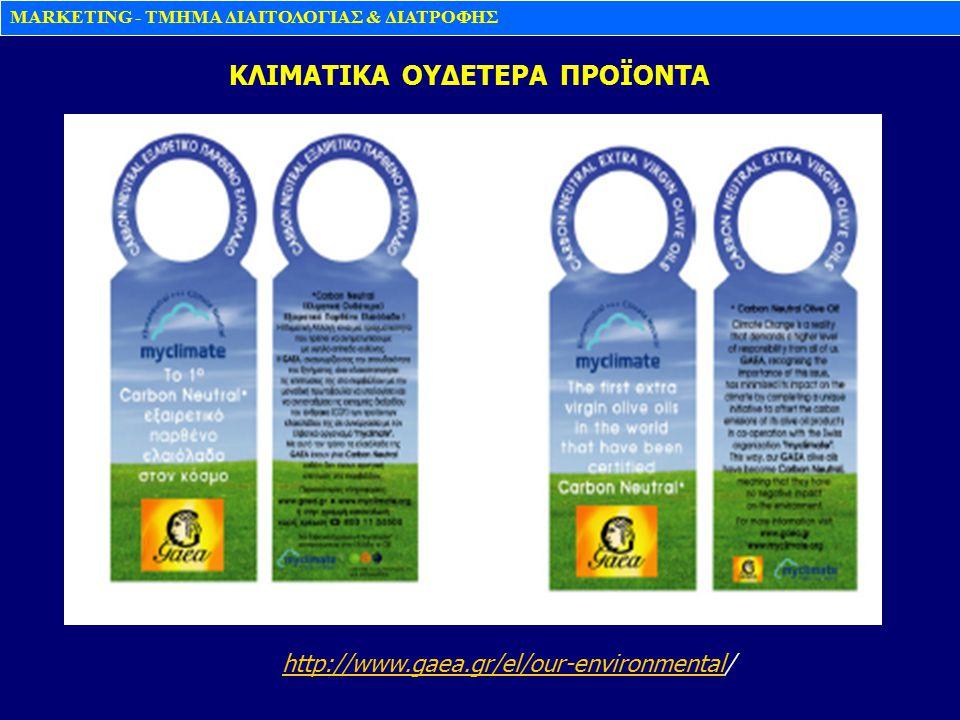 MARKETING - TMHMA ΔΙΑΙΤΟΛΟΓΙΑΣ & ΔΙΑΤΡΟΦΗΣ KΛΙΜΑΤΙΚΑ ΟΥΔΕΤΕΡΑ ΠΡΟΪΟΝΤΑ http://www.gaea.gr/el/our-environmental/