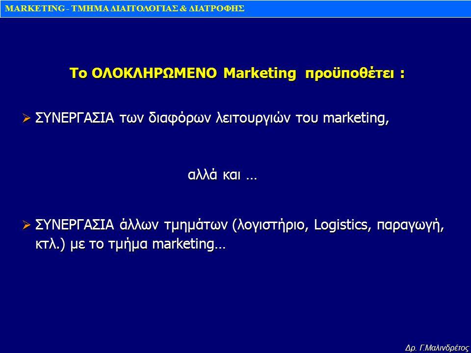 MARKETING - TMHMA ΔΙΑΙΤΟΛΟΓΙΑΣ & ΔΙΑΤΡΟΦΗΣ Δρ. Γ.Μαλινδρέτος  ΣΥΝΕΡΓΑΣΙΑ των διαφόρων λειτουργιών του marketing, αλλά και … αλλά και …  ΣΥΝΕΡΓΑΣΙΑ ά