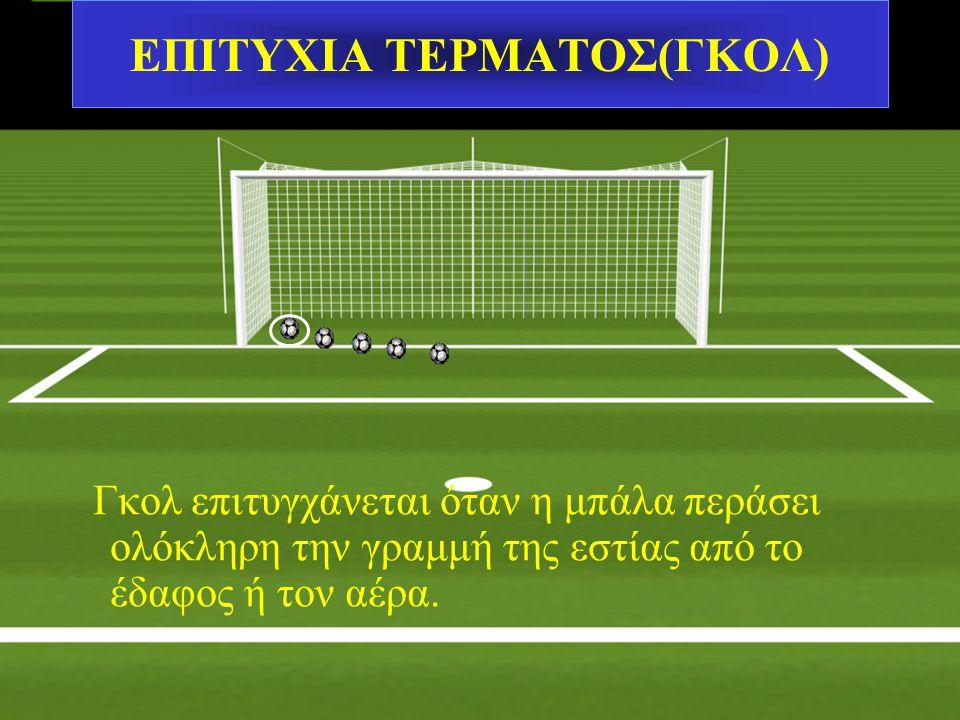 MΠΑΛΑ ΜΕΣΑ& ΕΞΩ ΑΠΟ ΤΟΝ ΑΓΩΝΑ Η μπάλα είναι έξω από το παιχνίδι όταν: Περάσει ολόκληρη από το έδαφος ή τον αέρα έξω από τις γραμμές του γηπέδου Σε κάθ