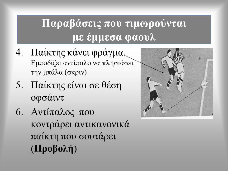 Παραβάσεις που τιμωρούνται με έμμεσα φαουλ 1.Επικίνδυνο παίξιμο α.ενεργητικό β.παθητικό 2.Αντίπαλος εμποδίζει τερματοφύλακα να διώξει την μπάλα 3. Εκτ