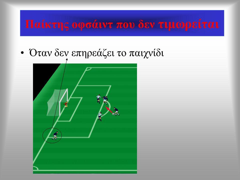 Παίκτης που δεν είναι οφσάιντ Όταν βρίσκεται στην ίδια ευθεία με τον δεύτερο αμυντικό παίκτη την στιγμή της μεταβίβασης