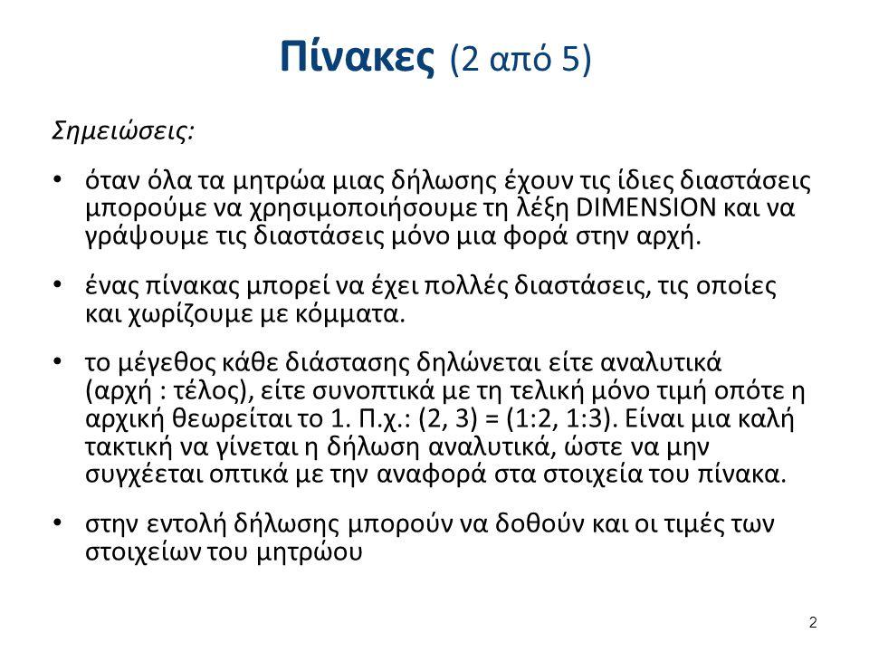 Πίνακες (2 από 5) Σημειώσεις: όταν όλα τα μητρώα μιας δήλωσης έχουν τις ίδιες διαστάσεις μπορούμε να χρησιμοποιήσουμε τη λέξη DIMENSION και να γράψουμε τις διαστάσεις μόνο μια φορά στην αρχή.