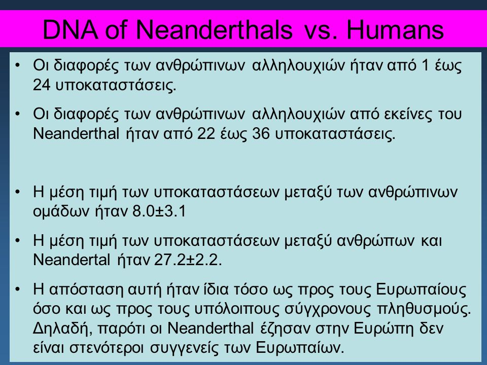 DNA of Neanderthals vs.