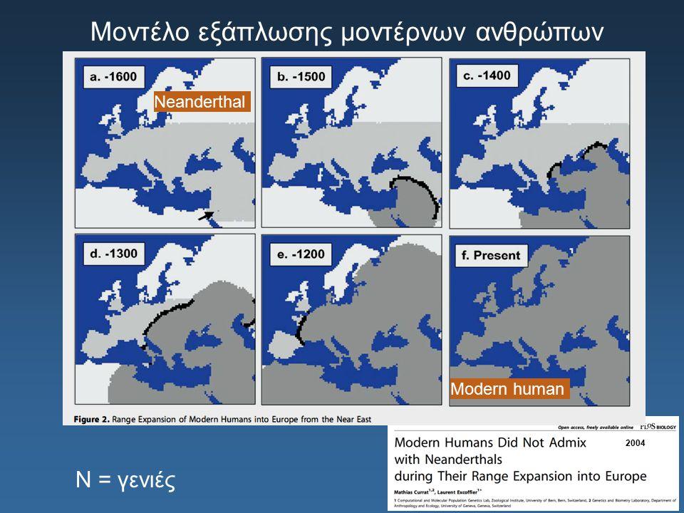 Μοντέλο εξάπλωσης μοντέρνων ανθρώπων Neanderthal Modern human N = γενιές 2004