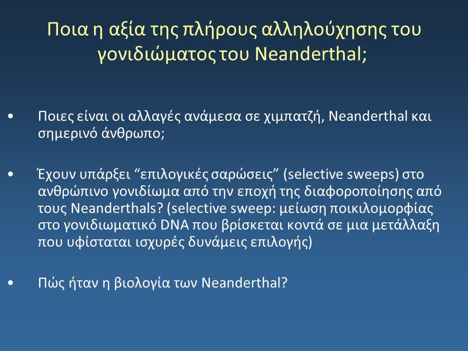 Ποια η αξία της πλήρους αλληλούχησης του γονιδιώματος του Neanderthal; Ποιες είναι οι αλλαγές ανάμεσα σε χιμπατζή, Neanderthal και σημερινό άνθρωπο; Έ