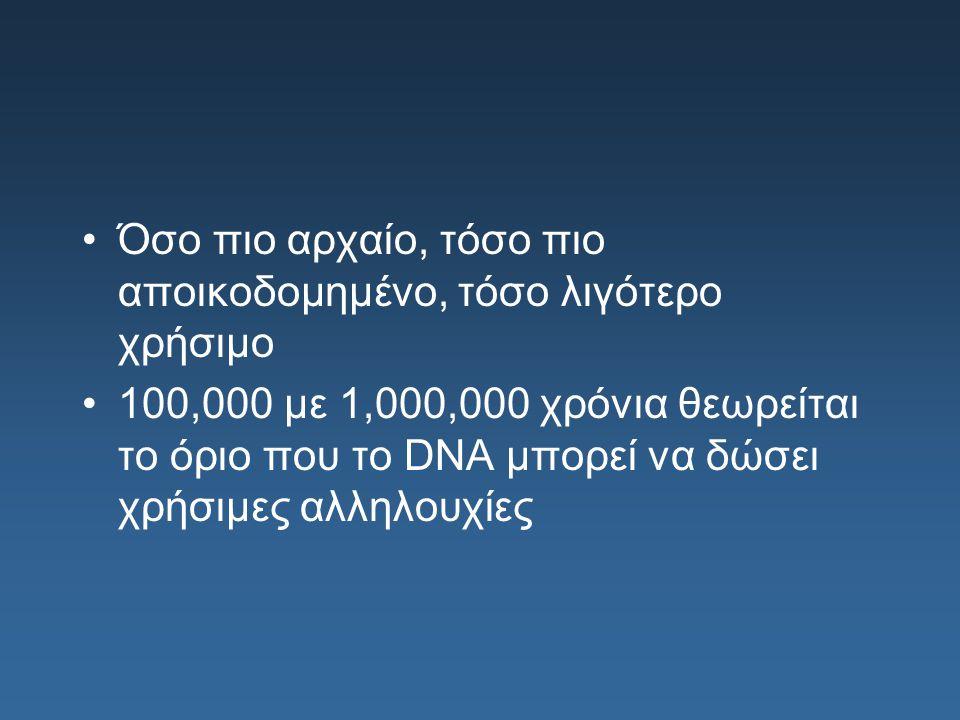 Όσο πιο αρχαίο, τόσο πιο αποικοδομημένο, τόσο λιγότερο χρήσιμο 100,000 με 1,000,000 χρόνια θεωρείται το όριο που το DNA μπορεί να δώσει χρήσιμες αλληλ