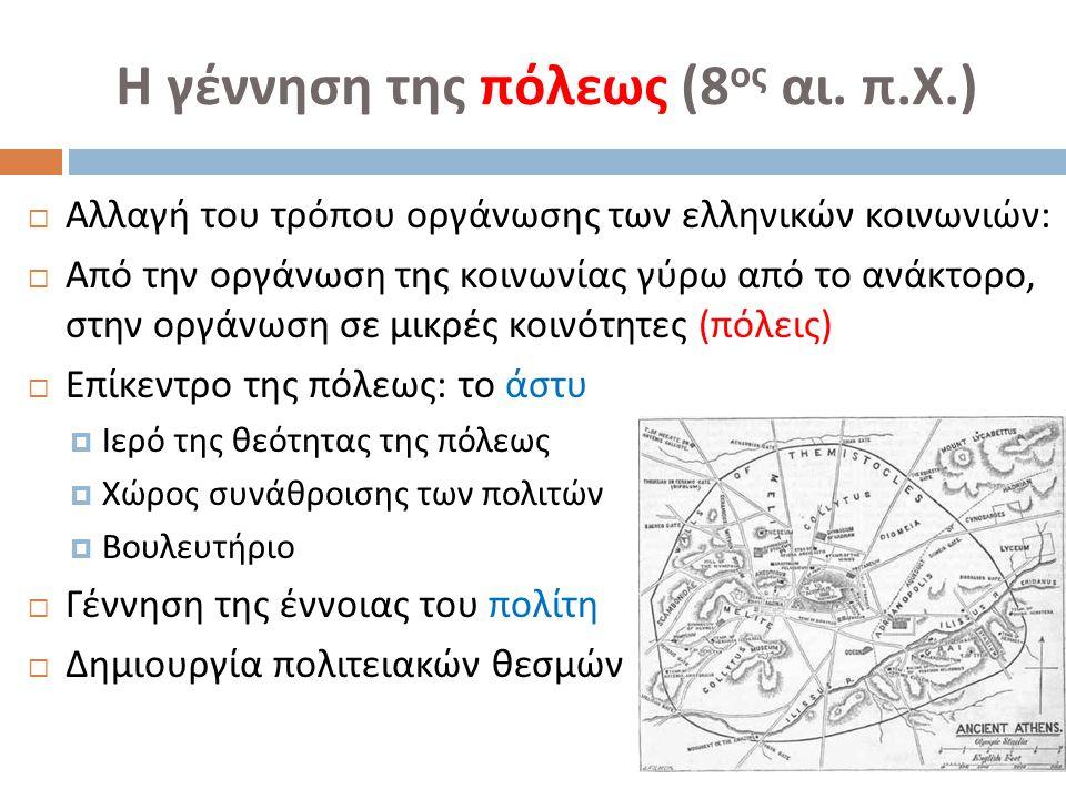 Η γέννηση της πόλεως (8 ος αι. π. Χ.)  Αλλαγή του τρόπου οργάνωσης των ελληνικών κοινωνιών :  Από την οργάνωση της κοινωνίας γύρω από το ανάκτορο, σ