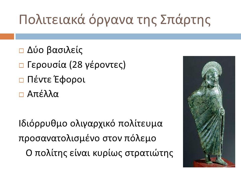 Πολιτειακά όργανα της Σπάρτης  Δύο βασιλείς  Γερουσία (28 γέροντες )  Πέντε Έφοροι  Απέλλα Ιδιόρρυθμο ολιγαρχικό πολίτευμα προσανατολισμένο στον π