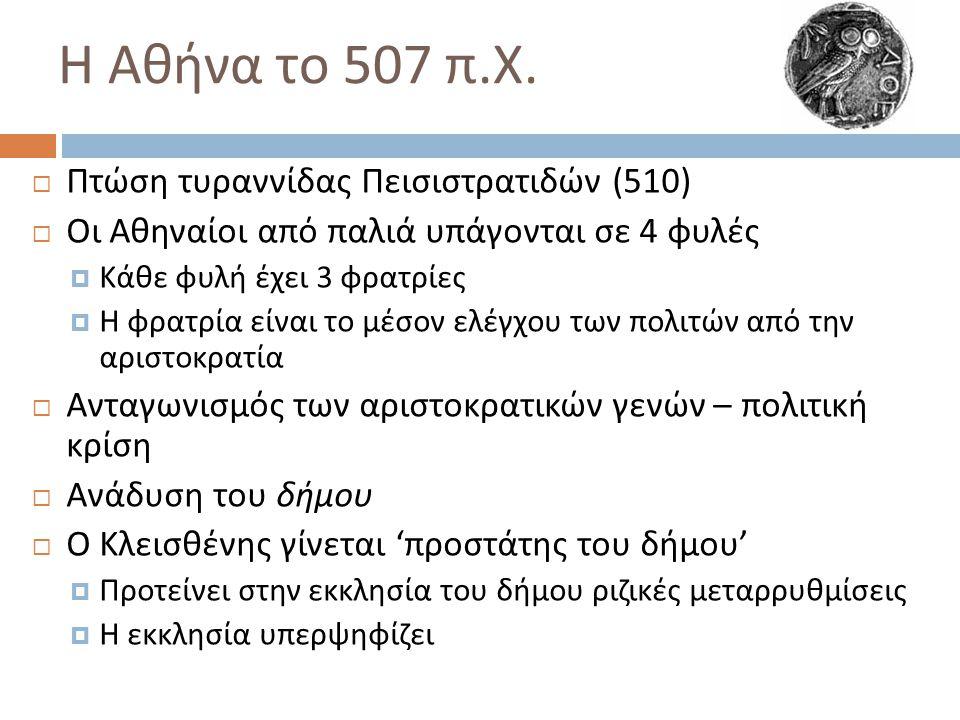 Η Αθήνα το 507 π. Χ.  Πτώση τυραννίδας Πεισιστρατιδών (510)  Οι Αθηναίοι από παλιά υπάγονται σε 4 φυλές  Κάθε φυλή έχει 3 φρατρίες  Η φρατρία είνα