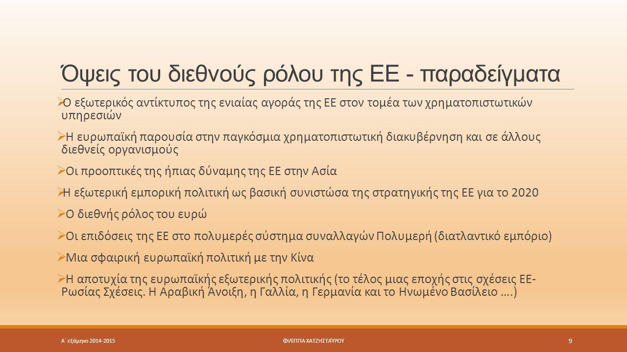 Όψεις του διεθνούς ρόλου της ΕΕ - παραδείγματα Α΄ εξάμηνο 2014-2015 9 ΦΙΛΊΠΠΑ ΧΑΤΖΗΣΤΑΎΡΟΥ  O εξωτερικός αντίκτυπος της ενιαίας αγοράς της ΕΕ στον τομέα των χρηματοπιστωτικών υπηρεσιών  Η ευρωπαϊκή παρουσία στην παγκόσμια χρηματοπιστωτική διακυβέρνηση και σε άλλους διεθνείς οργανισμούς  Οι προοπτικές της ήπιας δύναμης της ΕΕ στην Ασία  Η εξωτερική εμπορική πολιτική ως βασική συνιστώσα της στρατηγικής της ΕΕ για το 2020  Ο διεθνής ρόλος του ευρώ  Οι επιδόσεις της ΕΕ στο πολυμερές σύστημα συναλλαγών Πολυμερή (διατλαντικό εμπόριο)  Μια σφαιρική ευρωπαϊκή πολιτική με την Κίνα  Η αποτυχία της ευρωπαϊκής εξωτερικής πολιτικής (το τέλος μιας εποχής στις σχέσεις ΕΕ- Ρωσίας Σχέσεις.