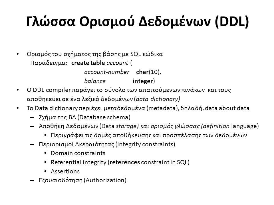 Γλώσσα Ορισμού Δεδομένων (DDL) Ορισμός του σχήματος της βάσης με SQL κώδικα Παράδειγμα:create table account ( account-number char(10), balance integer) O DDL compiler παράγει το σύνολο των απαιτούμενων πινάκων και τους αποθηκεύει σε ένα λεξικό δεδομένων (data dictionary) Το Data dictionary περιέχει μεταδεδομένα (metadata), δηλαδή, data about data – Σχήμα της ΒΔ (Database schema) – Αποθήκη Δεδομένων (Data storage) και ορισμός γλώσσας (definition language) Περιγράφει τις δομές αποθήκευσης και προσπέλασης των δεδομένων – Περιορισμοί Ακεραιότητας (integrity constraints) Domain constraints Referential integrity (references constraint in SQL) Assertions – Εξουσιοδότηση (Authorization)