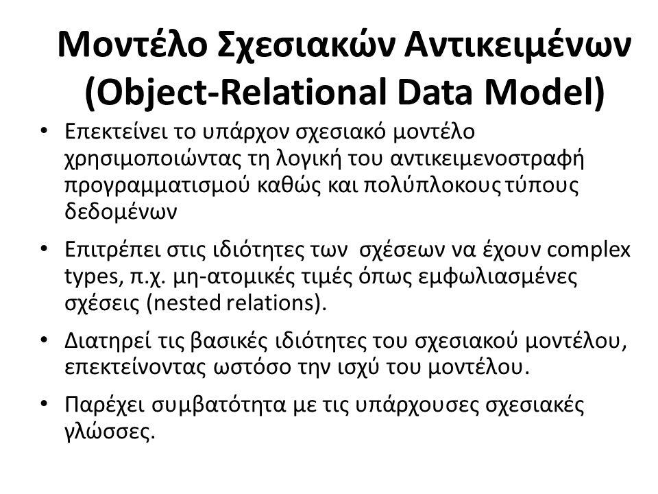 Μοντέλο Σχεσιακών Αντικειμένων (Object-Relational Data Model) Επεκτείνει το υπάρχον σχεσιακό μοντέλο χρησιμοποιώντας τη λογική του αντικειμενοστραφή προγραμματισμού καθώς και πολύπλοκους τύπους δεδομένων Επιτρέπει στις ιδιότητες των σχέσεων να έχουν complex types, π.χ.