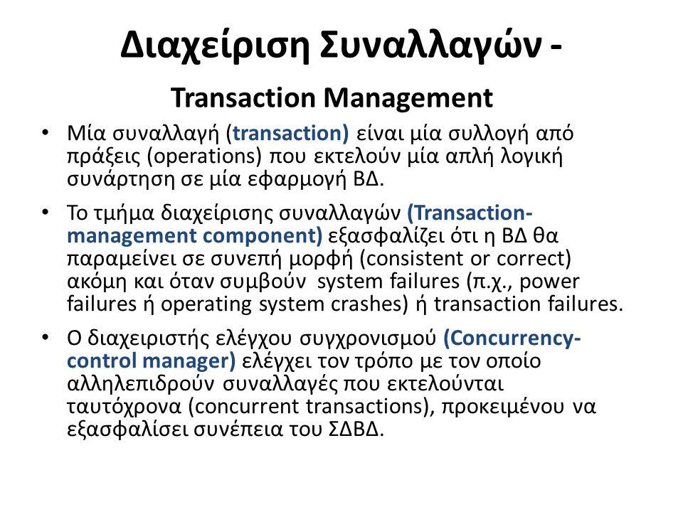 Διαχείριση Συναλλαγών - Transaction Management Μία συναλλαγή (transaction) είναι μία συλλογή από πράξεις (operations) που εκτελούν μία απλή λογική συνάρτηση σε μία εφαρμογή ΒΔ.