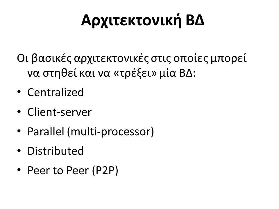 Αρχιτεκτονική ΒΔ Οι βασικές αρχιτεκτονικές στις οποίες μπορεί να στηθεί και να «τρέξει» μία ΒΔ: Centralized Client-server Parallel (multi-processor) Distributed Peer to Peer (P2P)