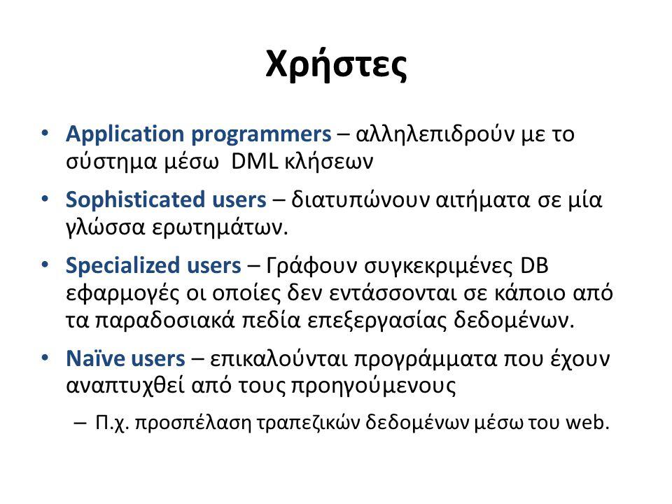 Χρήστες Application programmers – αλληλεπιδρούν με το σύστημα μέσω DML κλήσεων Sophisticated users – διατυπώνουν αιτήματα σε μία γλώσσα ερωτημάτων.