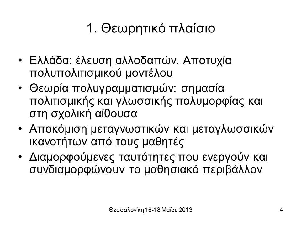 Θεσσαλονίκη 16-18 Μαΐου 20134 1. Θεωρητικό πλαίσιο Ελλάδα: έλευση αλλοδαπών.