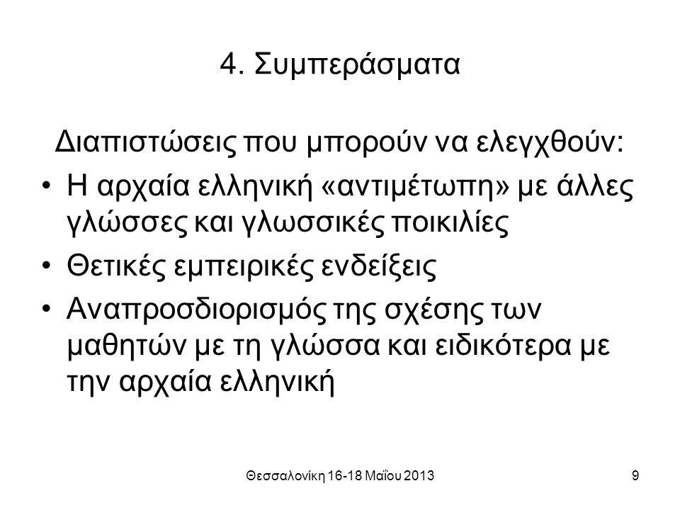 Θεσσαλονίκη 16-18 Μαΐου 201310 Η ουσιαστική επικοινωνία σε επίπεδο ιδεών και εκπαιδευτικής πρακτικής προϋποθέτει το ξεπέρασμα αφενός του εθνικού λόγου για τη γλώσσα… Ευχαριστώ!