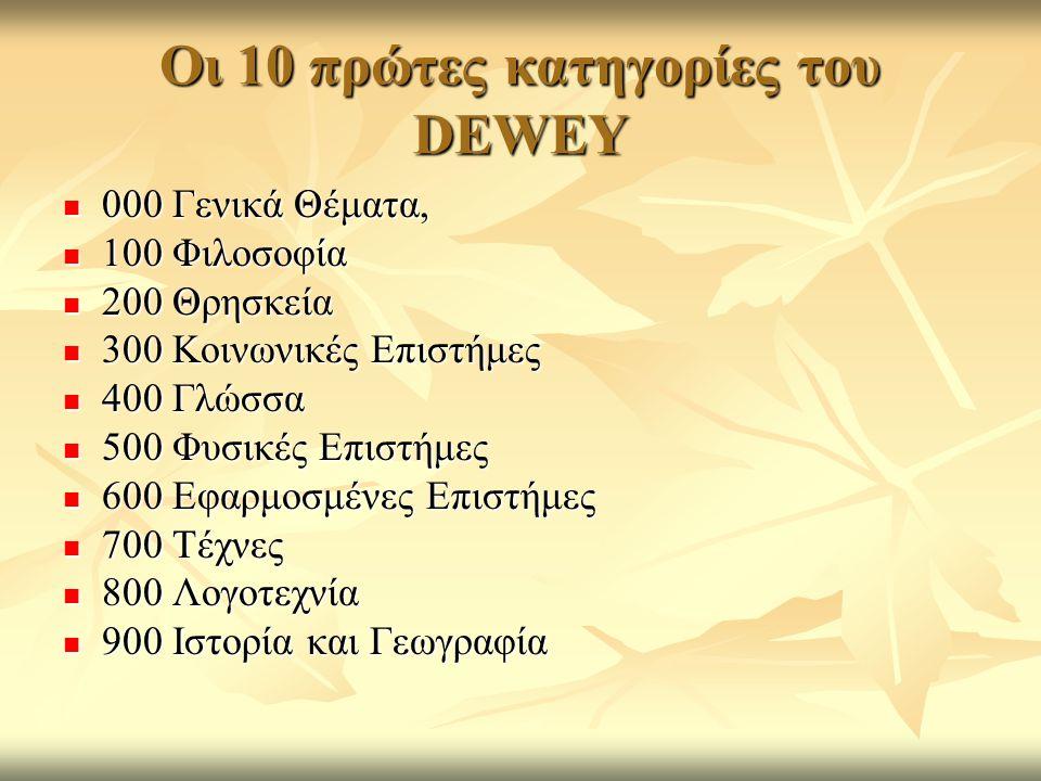 Οι 10 πρώτες κατηγορίες του DEWEY 000 Γενικά Θέματα, 000 Γενικά Θέματα, 100 Φιλοσοφία 100 Φιλοσοφία 200 Θρησκεία 200 Θρησκεία 300 Κοινωνικές Επιστήμες