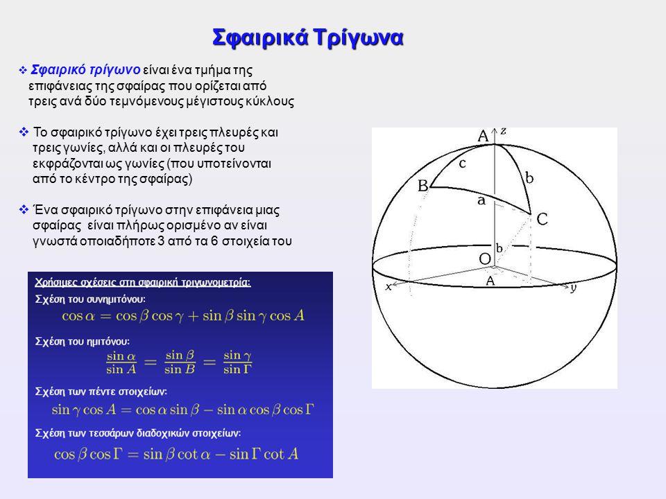 Σφαιρικά Τρίγωνα  Σφαιρικό τρίγωνο είναι ένα τμήμα της επιφάνειας της σφαίρας που ορίζεται από τρεις ανά δύο τεμνόμενους μέγιστους κύκλους  Το σφαιρ