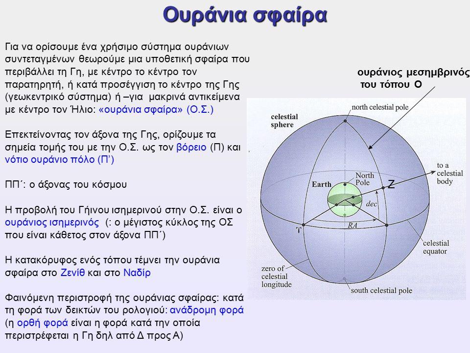 Ουράνια σφαίρα Για να ορίσουμε ένα χρήσιμο σύστημα ουράνιων συντεταγμένων θεωρούμε μια υποθετική σφαίρα που περιβάλλει τη Γη, με κέντρο το κέντρο τον