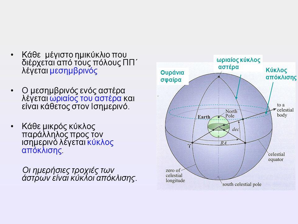 Κάθε μέγιστο ημικύκλιο που διέρχεται από τους πόλους ΠΠ΄ λέγεται μεσημβρινός Ο μεσημβρινός ενός αστέρα λέγεται ωριαίος του αστέρα και είναι κάθετος στ