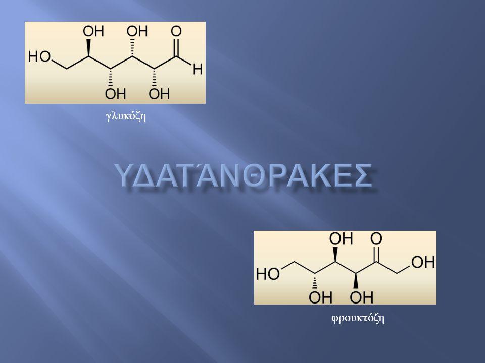  Οργανικές ενώσεις με το γενικό τύπο C n (H 2 O) n ☞ υδρίτες του άνθρακα ☞ πολυυδροξυαλδεϋδες ή πολυυδροξυκετόνες  Ονομάζονται και σακχαρίτες ☞ μονοσακχαρίτες ☞ δισακχαρίτες ☞ ολιγοσακχαρίτες ☞ πολυσακχαρίτες σάκχαρα κατάληξη: -όζη Μονοσακχαρίτες: γλυκόζη (σάκχαρο αίματος), φρουκτόζη, γαλακτόζη.