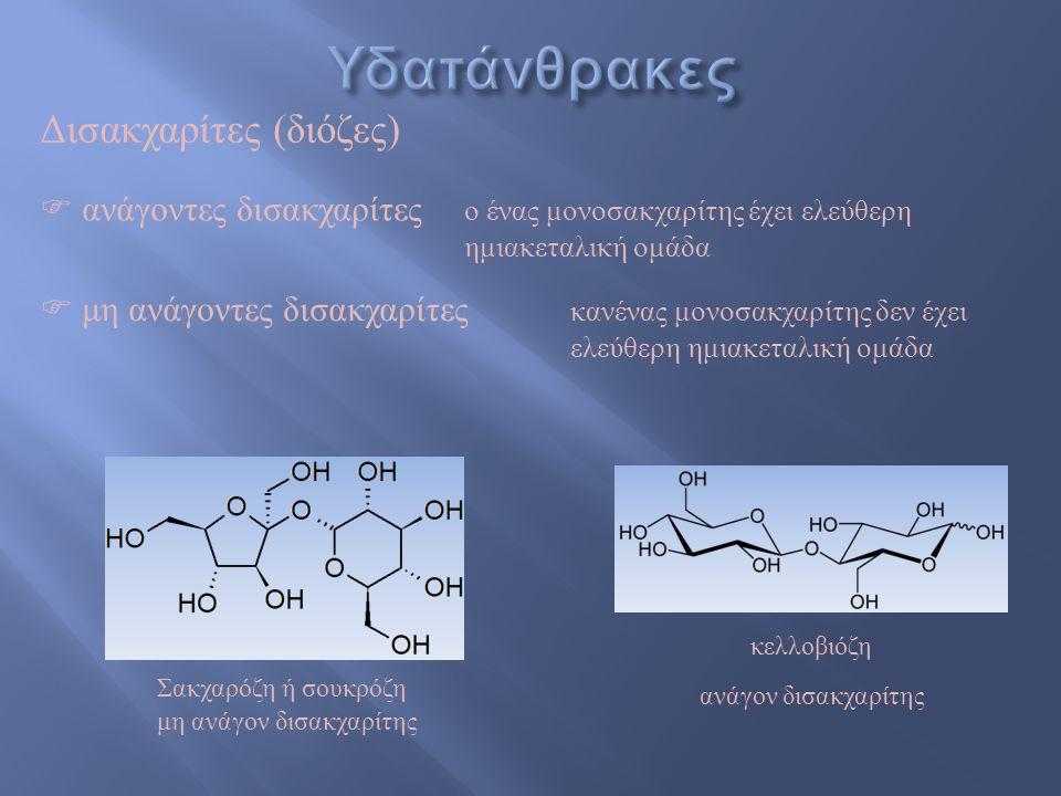 λακτόζη Δισακχαρίτες (διόζες) β-D-γαλακτόζηα-D-γλυκόζη β- 1,4-γλυκοζιτικός δεσμός ☞ Βρίσκεται στο γάλα και τα προϊόντα του ☞ Lactose intolerance :δυσλειτουργία του ενζύμου λακτάση (στο βλεννογόνο του εντέρου) και αδυναμία διάσπασης της λακτόζης ώστε να απορροφηθεί από τον οργανισμό Σακχαρόζη ή σουκρόζη β-D-φρουκτόζηα-D-γλυκόζη ιμβερτοσάκχαρο υδρόλυση