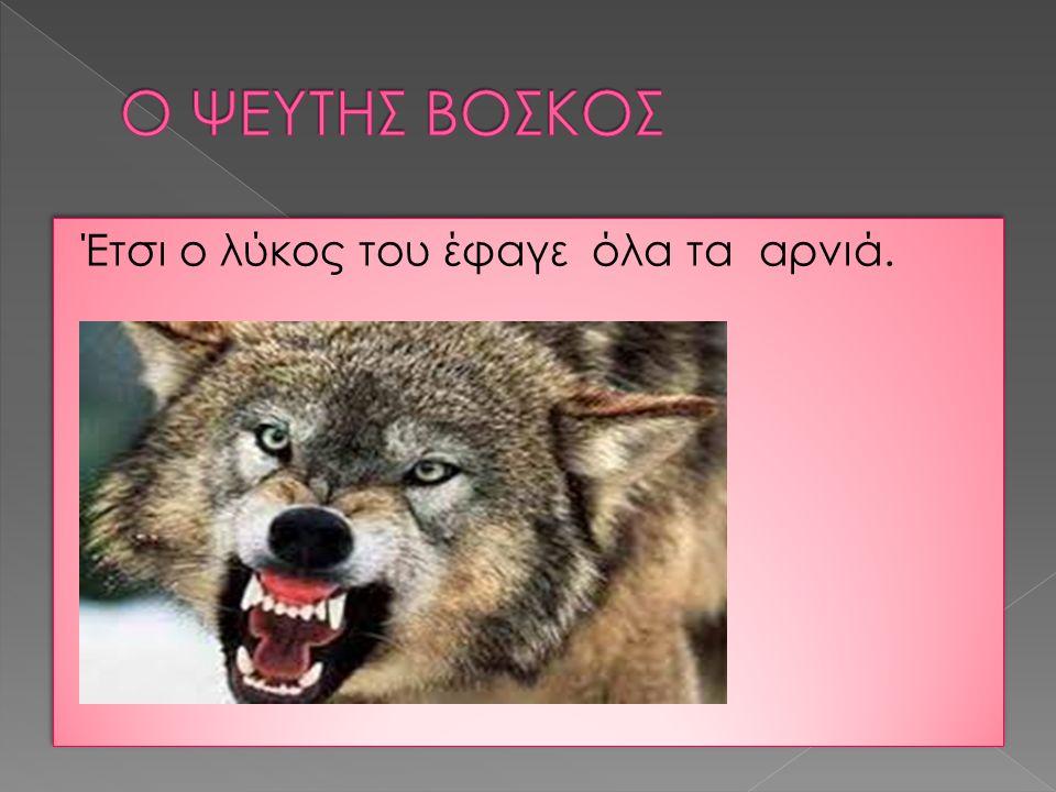 Έτσι ο λύκος του έφαγε όλα τα αρνιά.