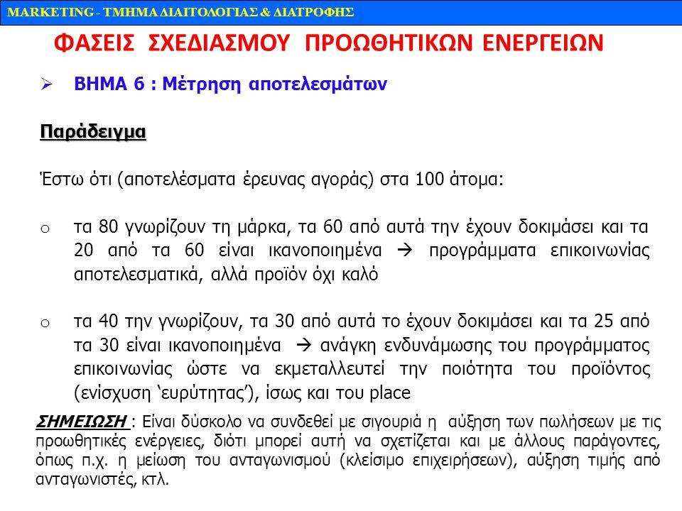 MARKETING - TMHMA ΔΙΑΙΤΟΛΟΓΙΑΣ & ΔΙΑΤΡΟΦΗΣ  ΒΗΜΑ 6 : Mέτρηση αποτελεσμάτωνΠαράδειγμα Έστω ότι (αποτελέσματα έρευνας αγοράς) στα 100 άτομα: o τα 80 γν