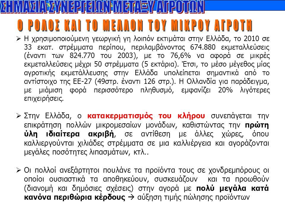 MARKETING - TMHMA ΔΙΑΙΤΟΛΟΓΙΑΣ & ΔΙΑΤΡΟΦΗΣ  Η χρησιμοποιούμενη γεωργική γη λοιπόν εκτιμάται στην Ελλάδα, το 2010 σε 33 εκατ. στρέμματα περίπου, περιλ