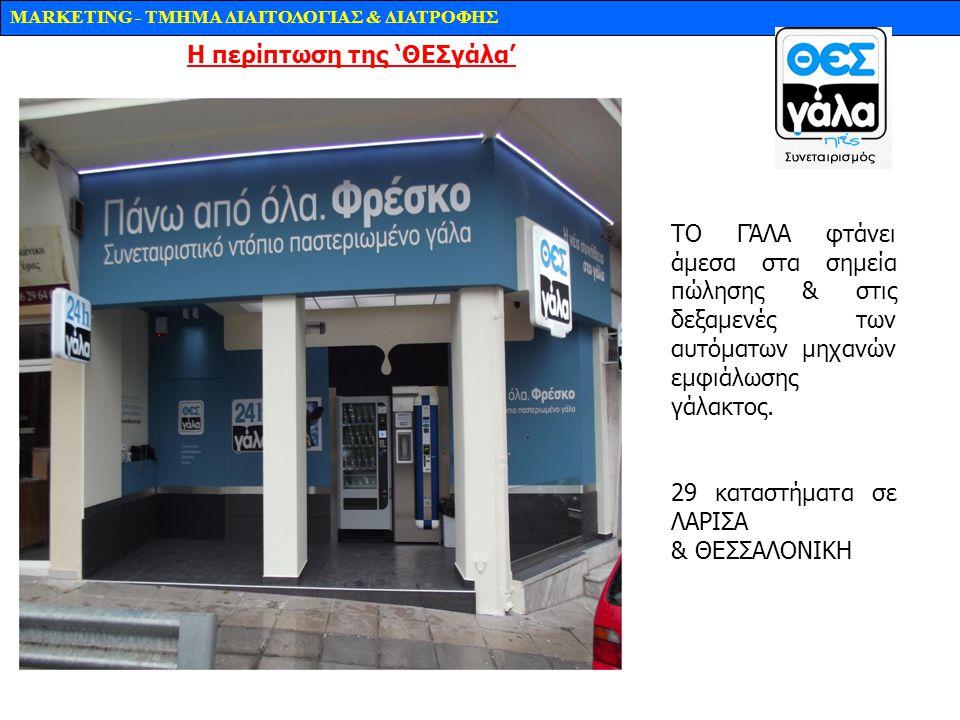 MARKETING - TMHMA ΔΙΑΙΤΟΛΟΓΙΑΣ & ΔΙΑΤΡΟΦΗΣ ΤΟ ΓΆΛΑ φτάνει άμεσα στα σημεία πώλησης & στις δεξαμενές των αυτόματων μηχανών εμφιάλωσης γάλακτος. 29 κατα