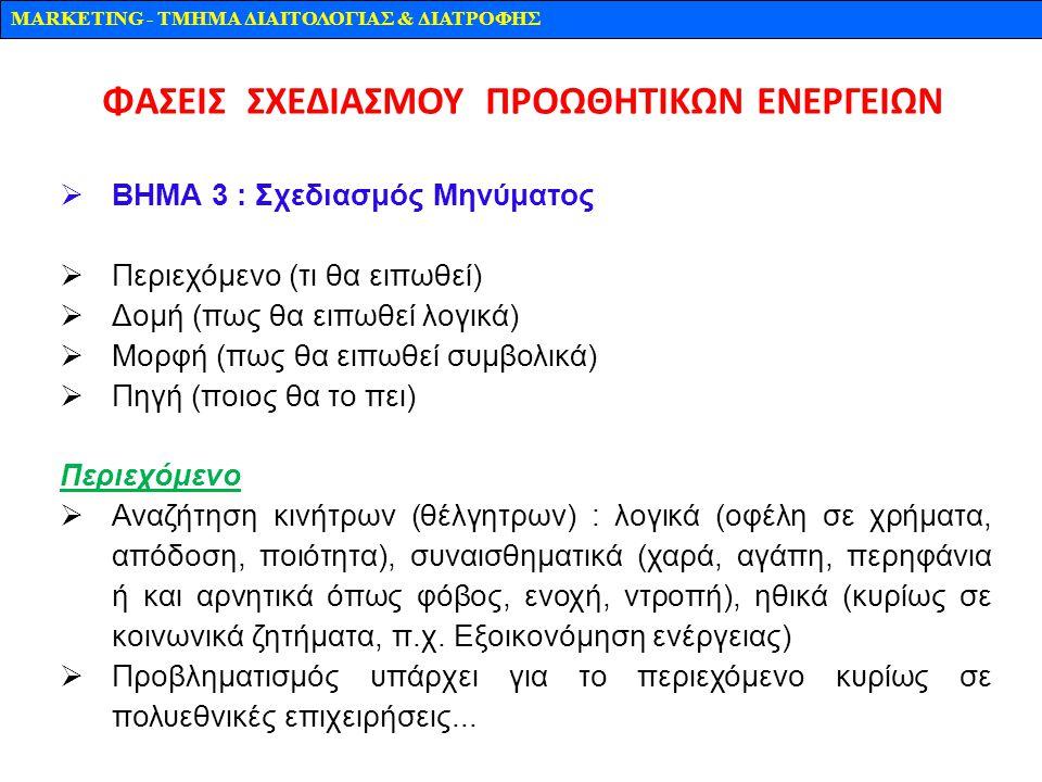 MARKETING - TMHMA ΔΙΑΙΤΟΛΟΓΙΑΣ & ΔΙΑΤΡΟΦΗΣ  ΒΗΜΑ 3 : Σχεδιασμός Μηνύματος  Περιεχόμενο (τι θα ειπωθεί)  Δομή (πως θα ειπωθεί λογικά)  Μορφή (πως θ