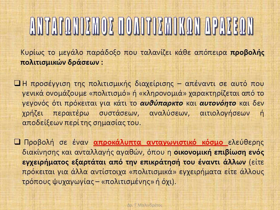 Δρ. Γ.Μαλινδρέτος  Η προσέγγιση της πολιτισμικής διαχείρισης – απέναντι σε αυτό που γενικά ονομάζουμε «πολιτισμό» ή «κληρονομιά» χαρακτηρίζεται από τ