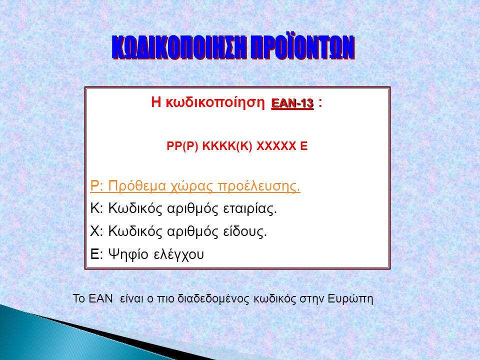 ΕΑΝ-13 Η κωδικοποίηση ΕΑΝ-13 : PP(P) ΚΚΚΚ(Κ) ΧΧΧΧΧ Ε P: Πρόθεμα χώρας προέλευσης.